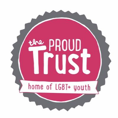 "Logo of the Proud Trust: text white on a pink circle and a banner saying ""home of LGBT+ youth"""