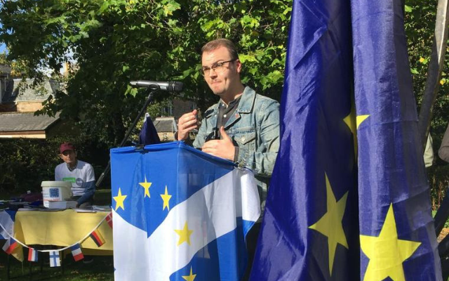 NUS Scotland President Liam McCabe speaking at the Stirling for Europe demonstration last year