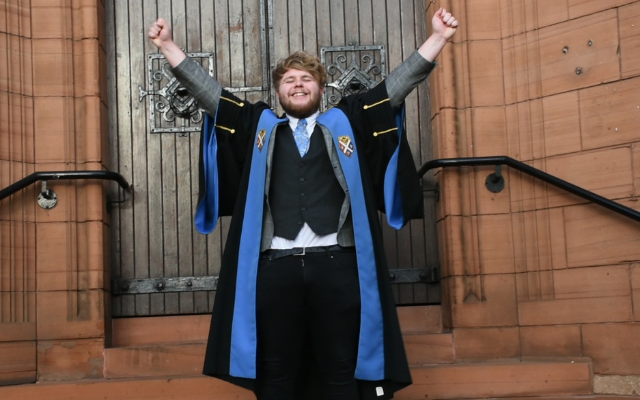 Strathclyde Students' Union President Matt Crilly celebrating the success of their campaign to abolish graduation fees