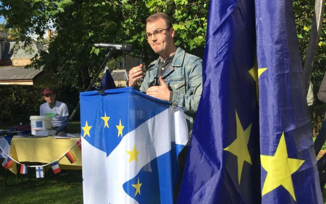 NUS Scotland President speaking at the Stirling for Europe rally last year