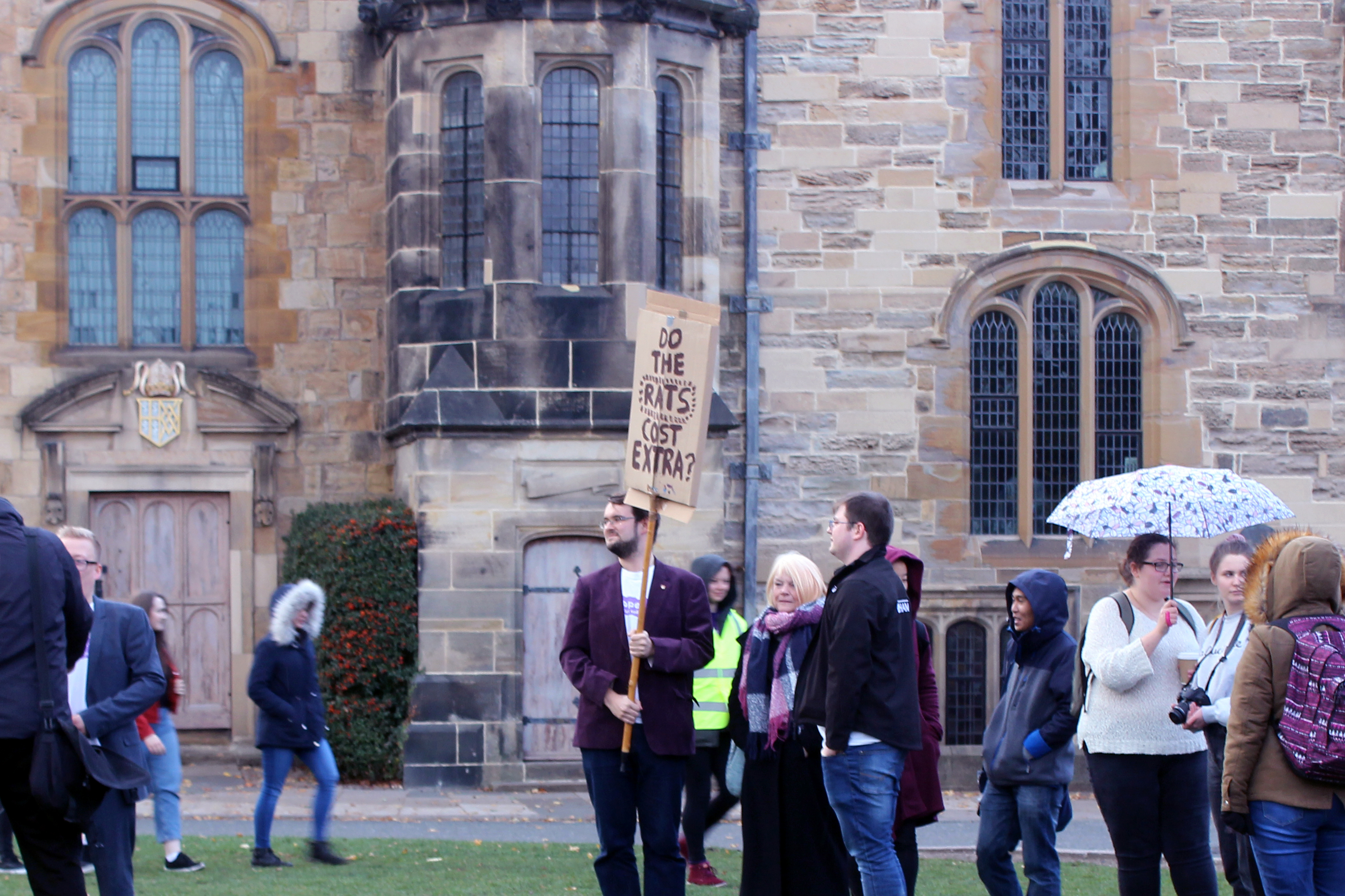 Student protesting cost of living in durham