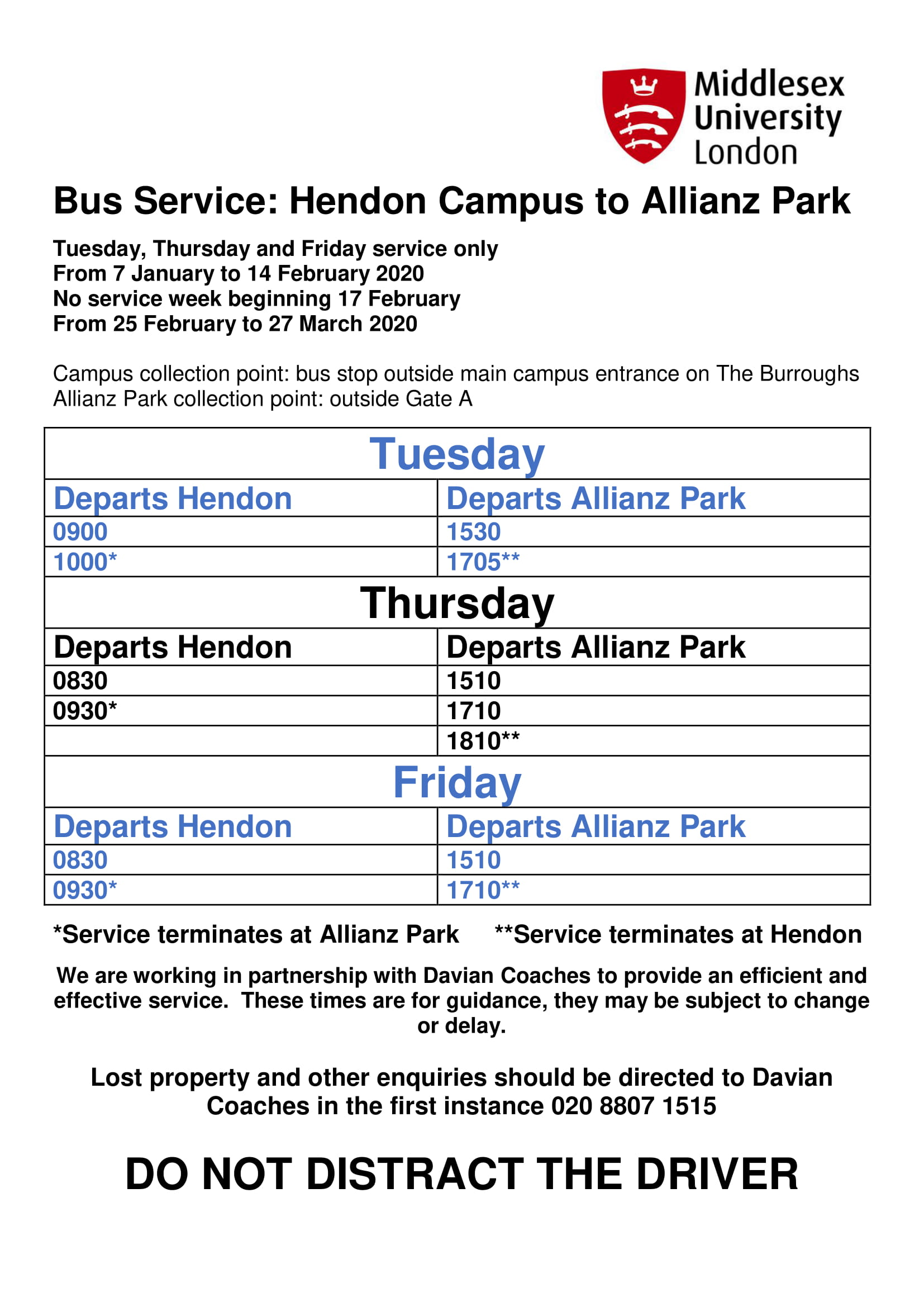 Image document showing times of shuttle bus services to and from Allianz Park