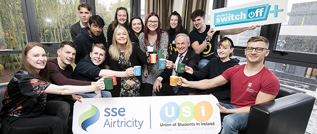 Students launching the 21 day energy challenge in Ireland
