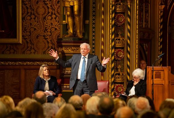 Sir David Attenborough giving a speech