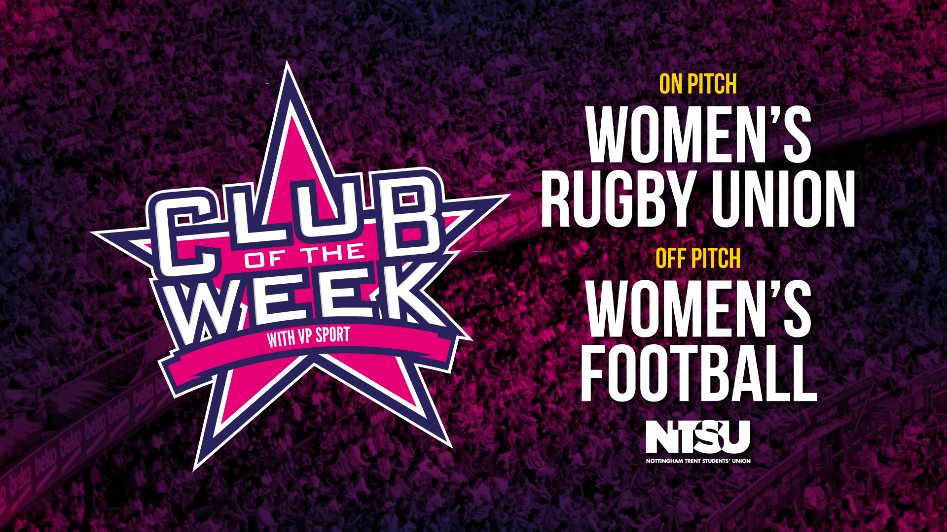 On Pitch Women's Rugby Union Off Pitch Women's Football