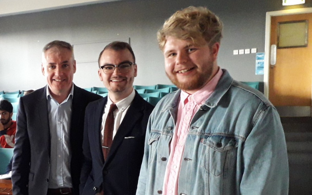 (Left to right) Scottish Government Minister for Higher Education, Further Education and Science Richard Lochhead; NUS Scotland President 2018 - 2020 Liam McCabe; NUS Scotland President-elect 2020 - 2022 Matt Crilly
