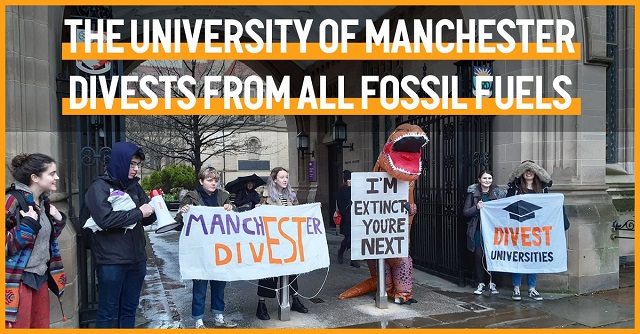 STudents standing with divestment posters under the text ' The University of Manchester Divests from all fossil fuels'