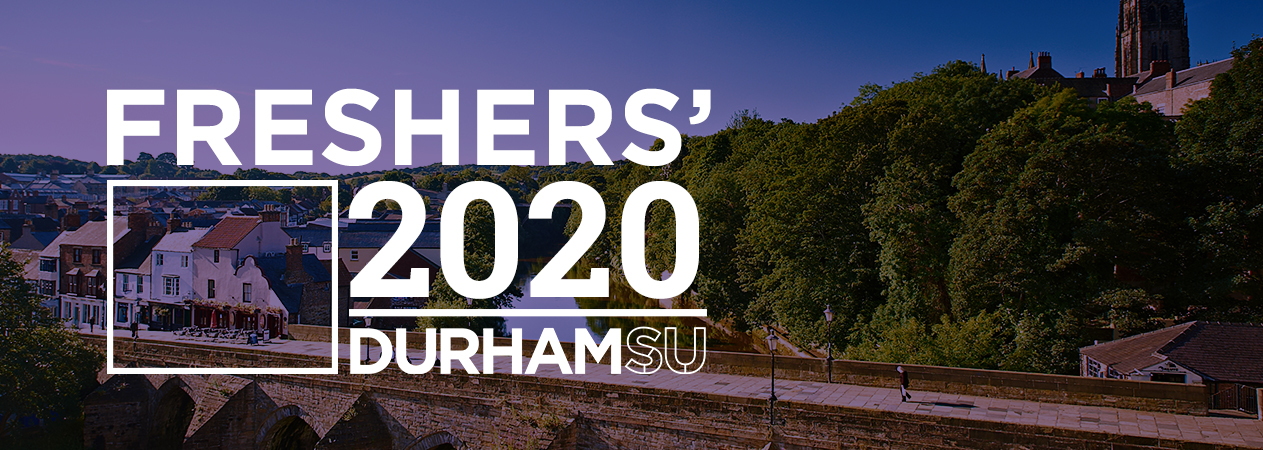 Freshers Header image, with the title Durham SU Freshers with Durham in the background