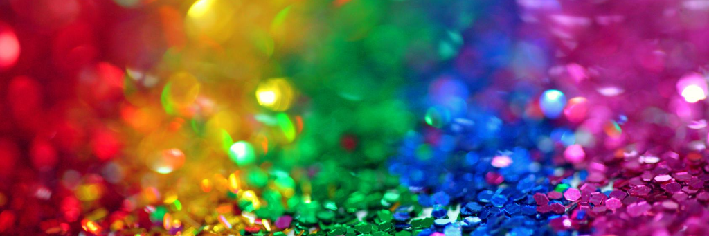 Rainbow colours in sequins
