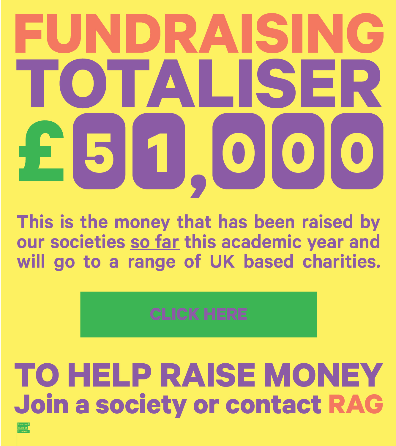 University of liverpool Students Union Fundraising Totaliser