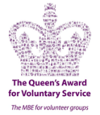 Logo image for The Queens Award for Voluntary Service. The logo design is a crown made up of smaller purple shapes, with the text underneath in Purple 'The Queen's Award for Voluntary Service. The MBE for Voluntary Service'