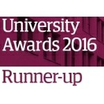 Logo image with a purple rectangle with text on top which says 'University Awards 2016 Runner-up'