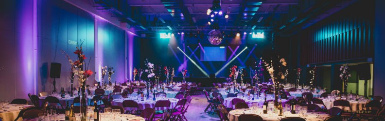 Image of the Bristol SU Anson Rooms decorated for an awards dinner