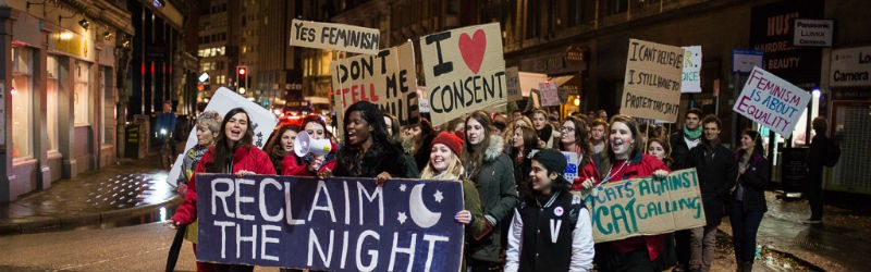 Image of Bristol SU's 'Reclaim the Night' march against gendered violence