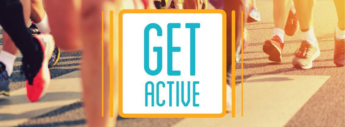 Get Active logo on background of people running