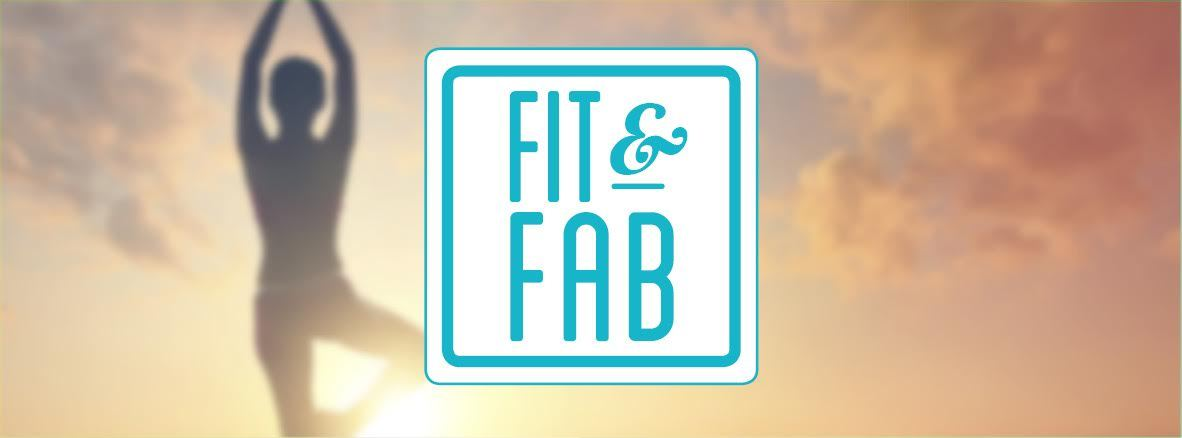 Fit and Fab logo with image of person doing yoga in background