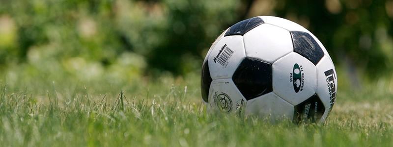 Football in a grassy field