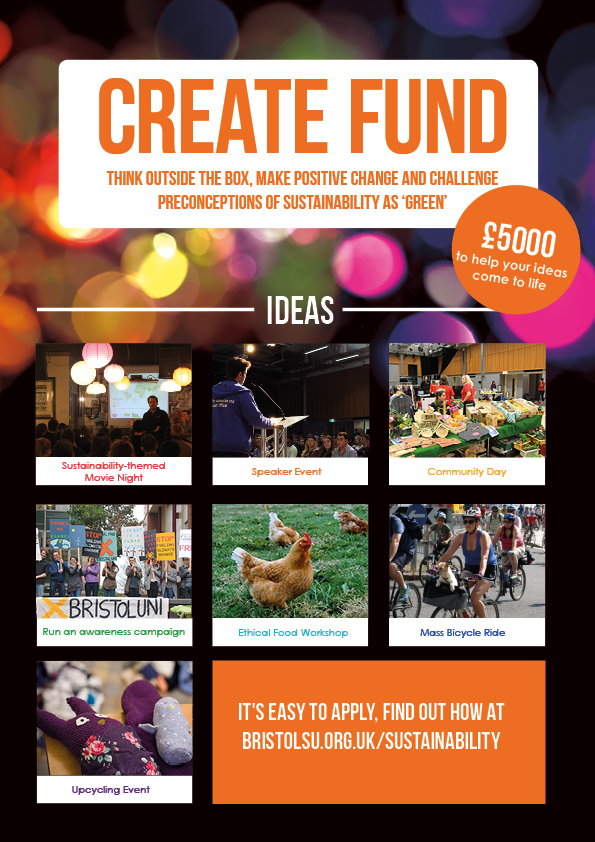 Create Fund Menu suggesting £5000 fund, for more info visit www.bristolsu.org.uk/sustainability