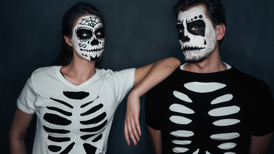 ... skeleton stencil costume. All you need is a really cheap black or white t-shirt cut some hollows out and layer it over the top of a contrasting colour ... & Halloween Costumes on a Budget! @ Leeds Beckett Studentsu0027 Union