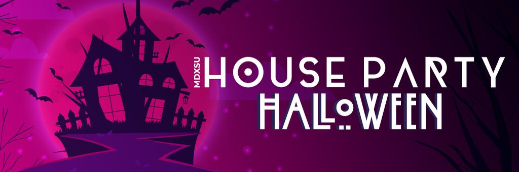 House party halloween digital screens  website banner