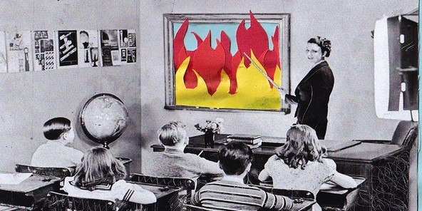 Burning fire classroom crop