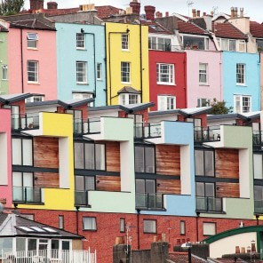 Colourful houses in hotwells area of bristol
