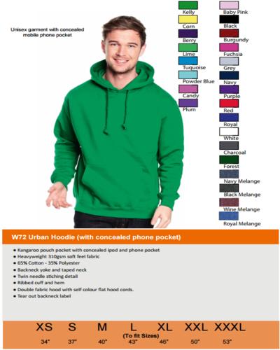 W72 colour size guide