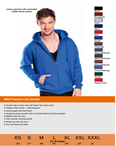 W88 size colour guide
