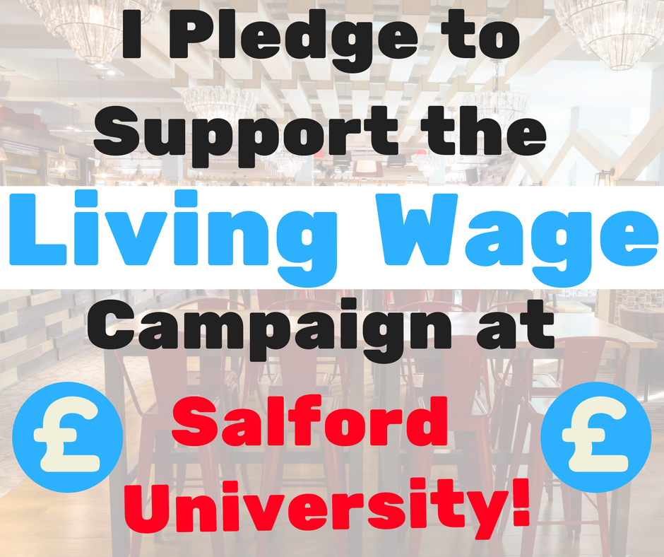 I pledge to support the living wage campaign at salford