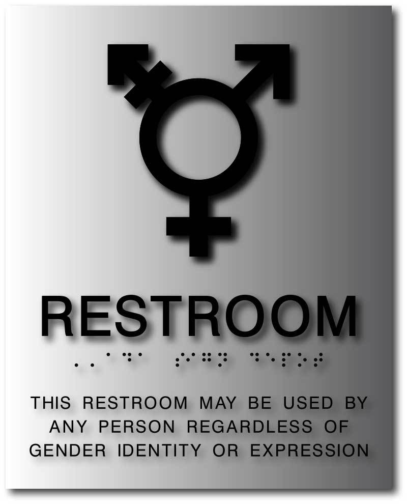 Bal 1168 black gender neutral braille wall sign neutral picto subsurface text  8x10