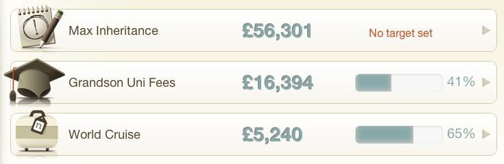 Nutmeg funds organised as goals