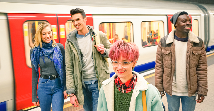 Young people on the tube, London