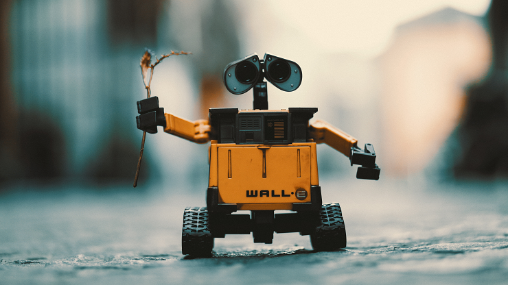 Wall-e robot on street holding leaf