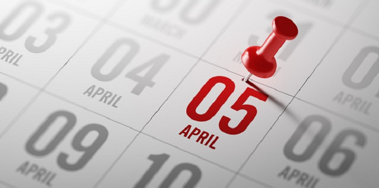 5th April pinned on calendar