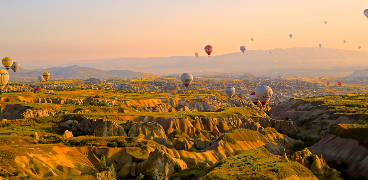 Hot air balloons over canyon landscapes