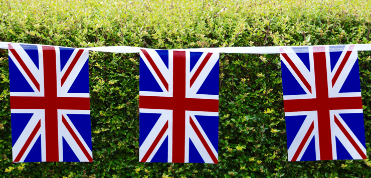 Union jacks bunting on hedge