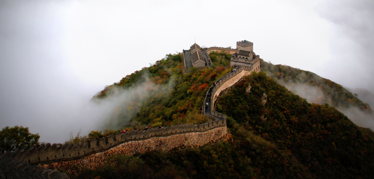 Great wall of China aerial view with cloudy backdrop