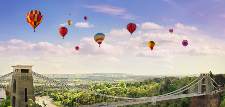 Image of hot air balloons in sky over Bristol
