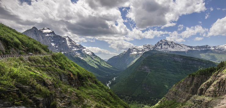 Image of the outlook across a valley and mountains