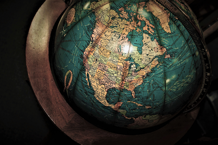 Globe showing North America