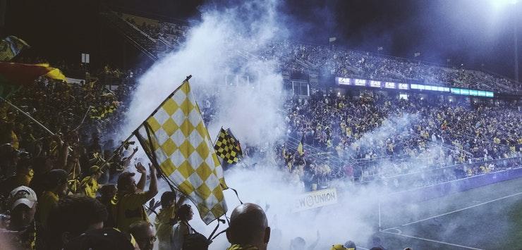 smoky football stadium
