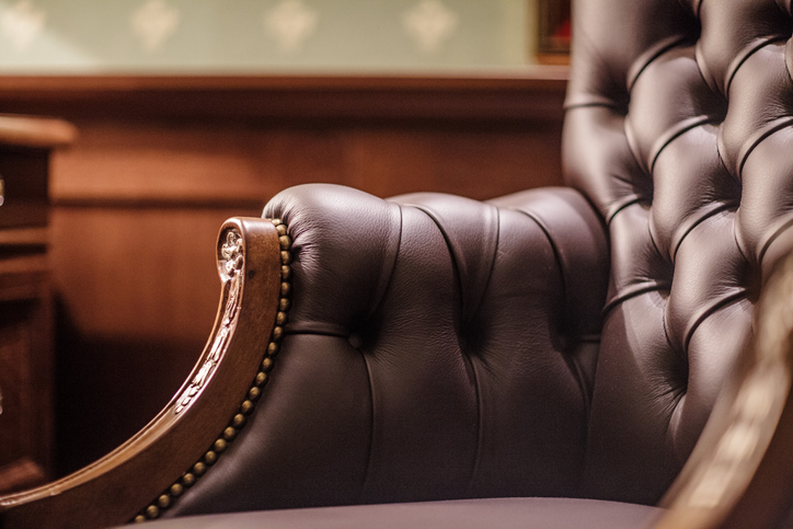 Wingback leather chair