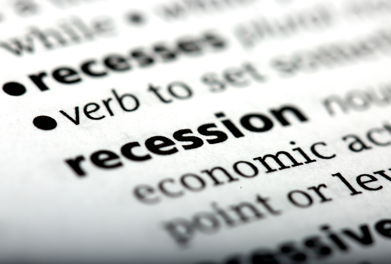 Recession is a word printed and defined in the English dictionary