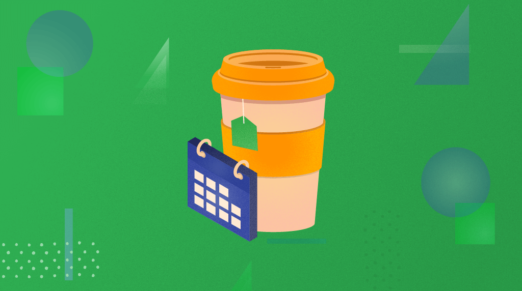 Coffee cup with calendar