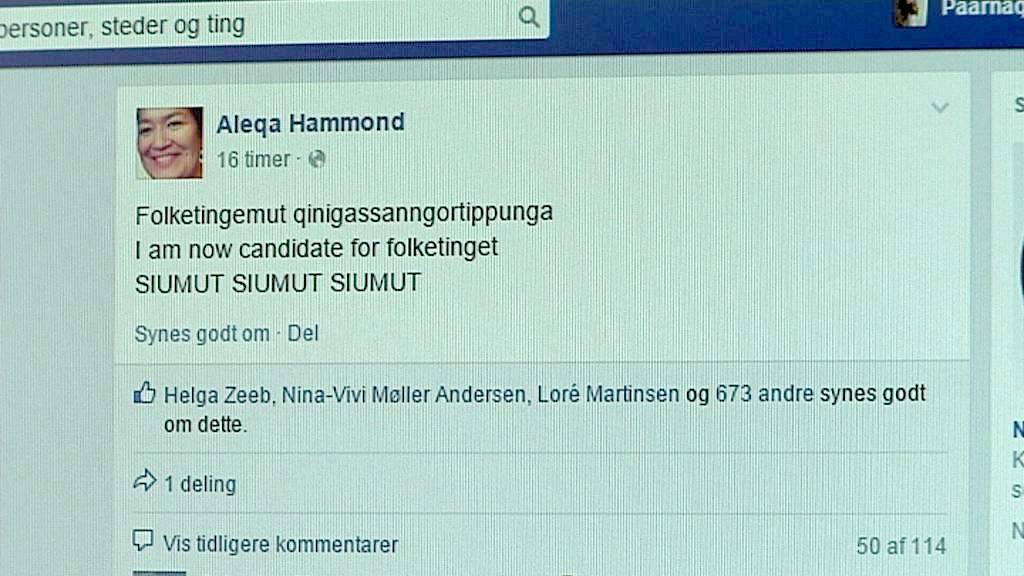 Aleqa Hammond til folketingsvalg