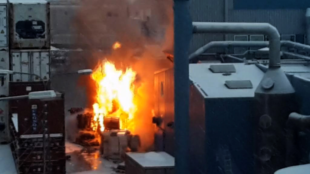 Fabrikken gik i brand