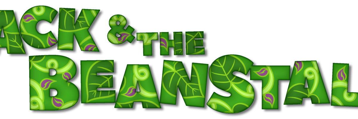 Jack and the Beanstalk, written in large, green block letters, with a leaf pattern inside them, the odd purple bean here and there too.