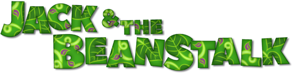 Jack and the Beanstalk in large green capital letters, with leaf shapes inside them.