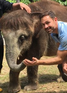 Ambassador Nicholas Daines With Bornean Elephant At Sepilok