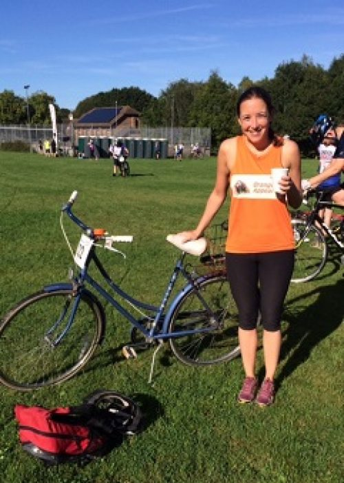 Alicia Medlicott at the London to Brighton cycle